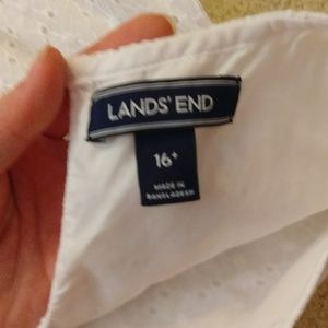 Lands' End Dresses - Lands End White dress with a pink ribbon belt